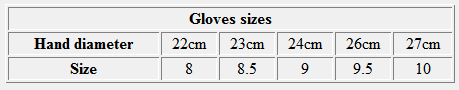 Gloves sizes chart