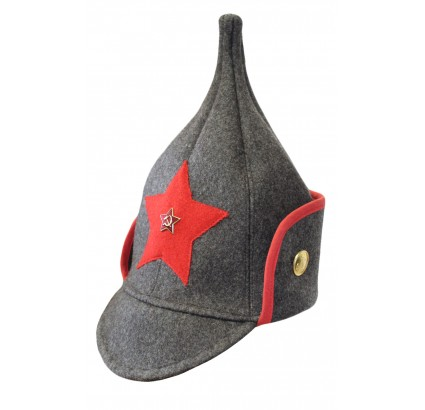Russian Red Army brown winter hat BUDENOVKA