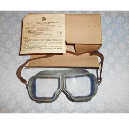 Gafas de cuero de piloto de la fuerza aérea rusa con caja de metal