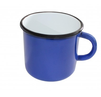 Vintage Soviet blue metal Russian cup enamel mug