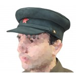 Soviet military Officer khaki Suede Leather Russian visor hat USSR