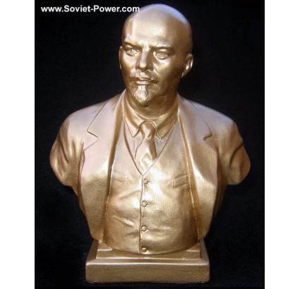Buste en or soviétique du révolutionnaire communiste russe Lénine