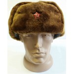 Soviet Officers Russian winter brown Ushanka with synthetic fur