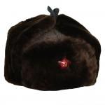 Warm Brown fur hat Russian Officers modern ushanka winter earflaps