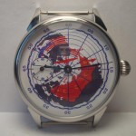 "USSR Molnija watch ""The map"" Russian mechanical 18 Jewels transparent wristwatch"
