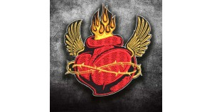 Sun Heart Fire Sew Iron on Embroidery Patch