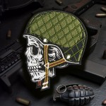 Military Skull in Helmet Russian Embroidery Sew-on Patch