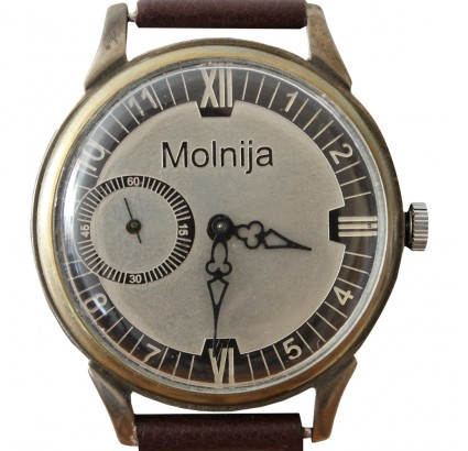 Soviet CLASSIC black wristwatch MOLNIYA 18 Jewels