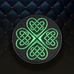 Knot celtic ornament Green Handmade embroidered Sew-on/Iron-on patch #6