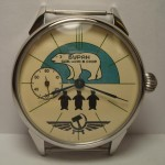 "Vitange Soviet ""Buran"" Polar bear Molnija transparent wristwatch"