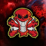 Fire Red Skull Embroidery Velcro / Iron-on Patch