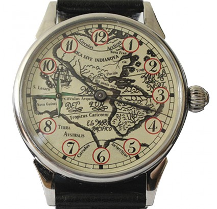 Molnija vintage reloj de pulsera ruso con mapa del viejo mundo