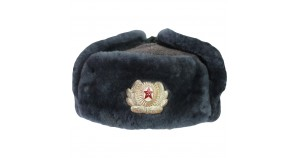 Vintage Russian Soviet Army Blue hat Officer's Earflap Warm Winter Ushanka Genuine Military trapper hat
