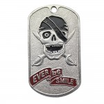 """Metal Dog Tag with Skull """"Ever Be Smile!"""""""