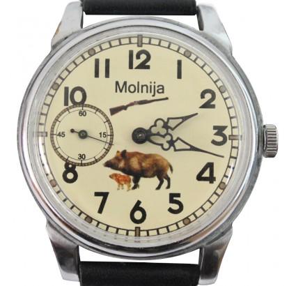 Molnija Cazador vintage reloj de pulsera ruso con jabalí