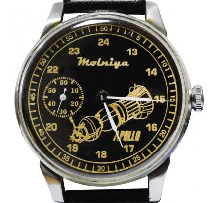 Montre-bracelet spatial russe Molniya avec un vaisseau spatial APOLLO