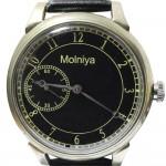 透明バックのロシア機械式腕時計MOLNIYA黒の輸出