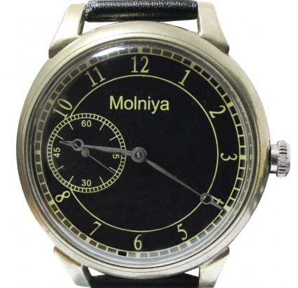 Russian mechanical wristwatch MOLNIYA black export optional transparent back