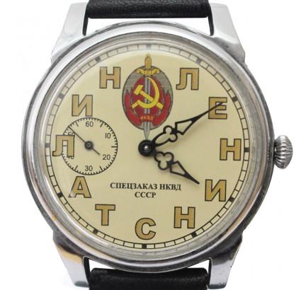 Soviet NKVD wrist watch MOLNIYA sign LENIN STALIN 18 Jewels