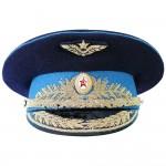 Vintage UdSSR Air Force Russian General hellblaue Visierkappe Authentischer sowjetischer Hut