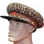 Vintage Soviet Union military Russian Officer Leopard brown leather USSR visor hat