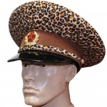 USSR Russian General Leopard brown leather visor cap Soviet hat