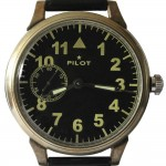 Reloj de pulsera clásico negro piloto ruso no transparente MOLNIJA