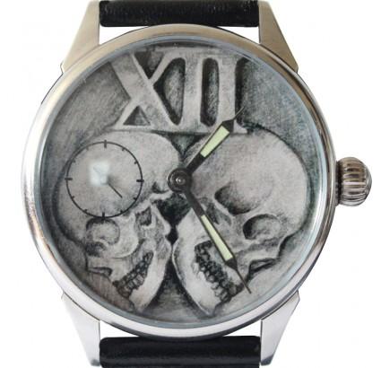 Molnija millésime montre noir transparent poignet gothique avec des crânes