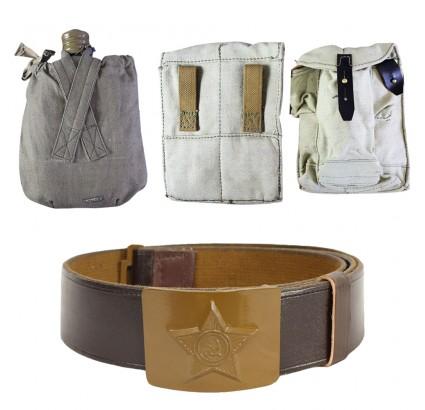 Kit del soldado del ejército ruso: cinturón + frasco + 2 bolsas de transporte