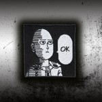 Anime One Punch Man Saitama Poker Face Embroidered Velcro / Iron-on Patch