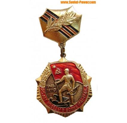 Russische 1970 Auszeichnung 25 Jahre eines Sieges im Zweiten Weltkrieg 1941-1945