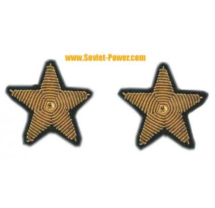 2 Soviet Officer Embroidery spun gold Russian Stars