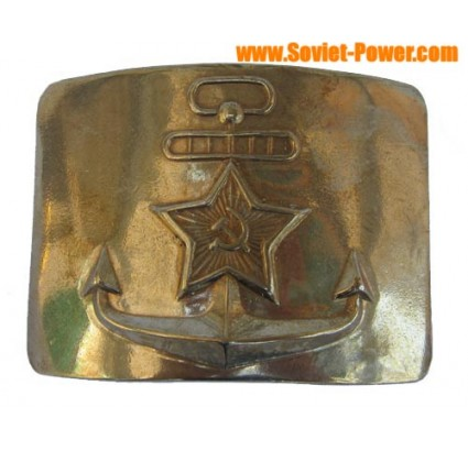 Russian Navy Fleet officers golden buckle with anchor