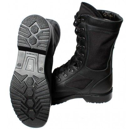 Black leather Russian Army tactical high ankle boots