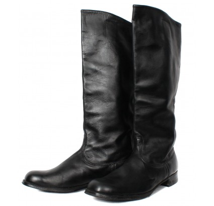 Soft Leather High Russian OFFICER riding BOOTS new Chrome