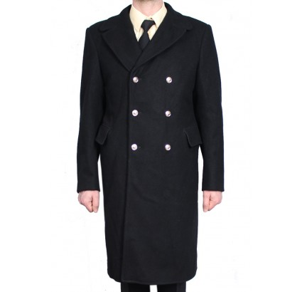 Soviet black long coat from Russian Navy Fleet