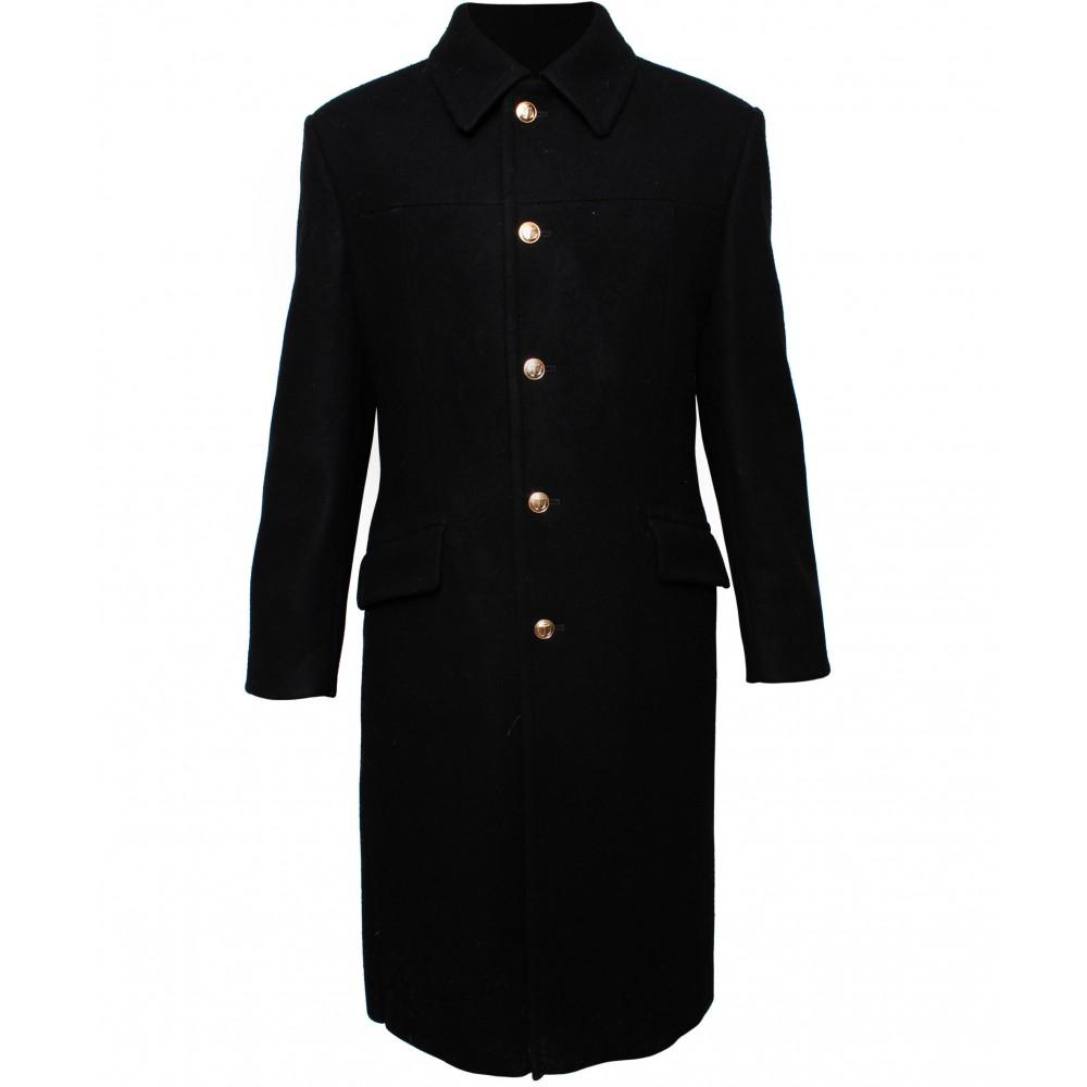 Marina russa di lana lungo cappotto nero d'inverno