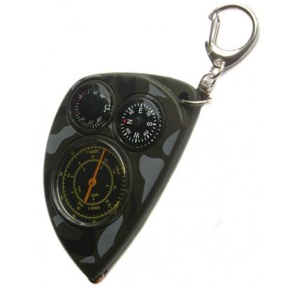 Carte russe curvimètre + boussole + thermomètre camo porte-clés