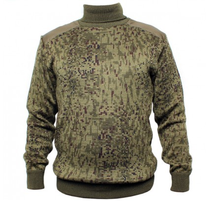 Warm winter knitted sweater Russian Army digital camo