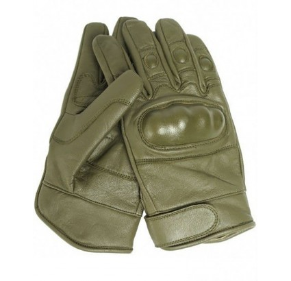 Sport / tactical leather fist gloves Olive model with Knuckles