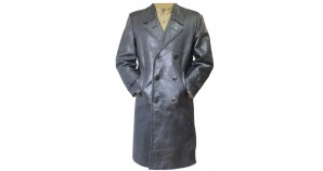 Soviet black officers leather double-breasted overcoat