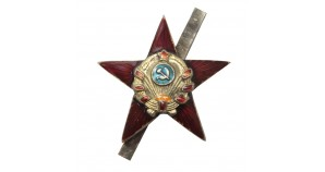 "Cockade Red Star on the headdress ""7 ribbons"""