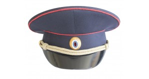 Russian KGB & police blue peaked cap / visor hat with insignia and cord