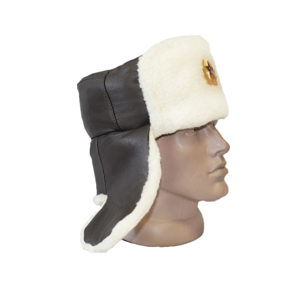 571968f3f Leather officer's USHANKA military Russian winter hat with white fur