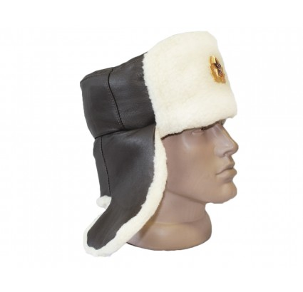 Leather officer's USHANKA military Russian winter hat with white fur