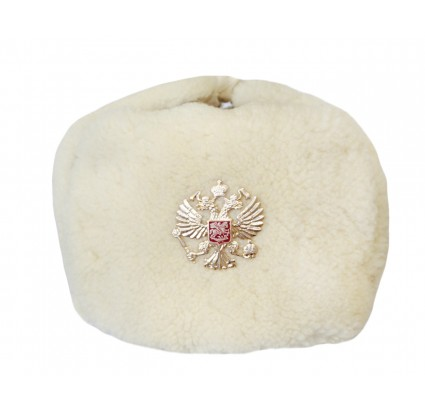 White Fur USHANKA military Russian winter hat with double eagle