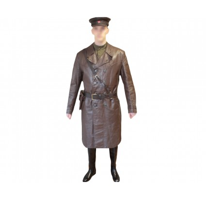 USSR brown NKVD military Russian officer Leather Overcoat