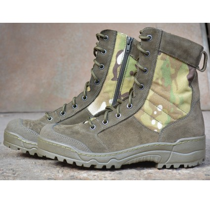 Tactical camo boots G.R.O.M. Multicam with zipper