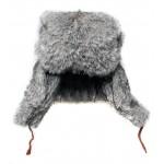 Rabbit fur modern gray winter hat ushanka