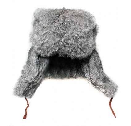 Rabbit fur modern gray winter hat ushanka